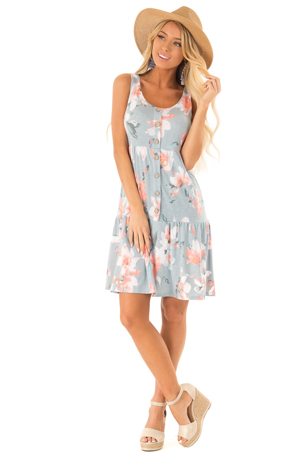 Dusty Blue Floral Print Sleeveless Button Up Mini Dress front full body
