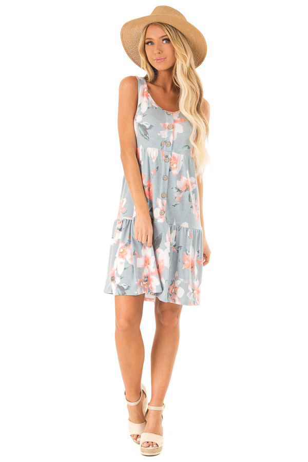 dcf390a4b453 Dusty Blue Floral Print Sleeveless Button Up Mini Dress front full body