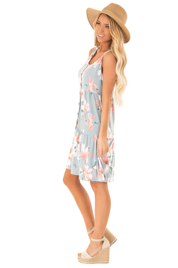 Dusty Blue Floral Print Sleeveless Button Up Mini Dress side full body