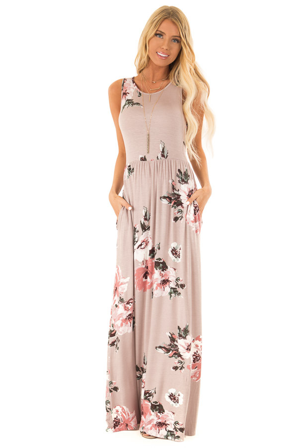 82368ffac887 Mauve Floral Print Tank Super Soft Maxi Dress with Pockets front full body
