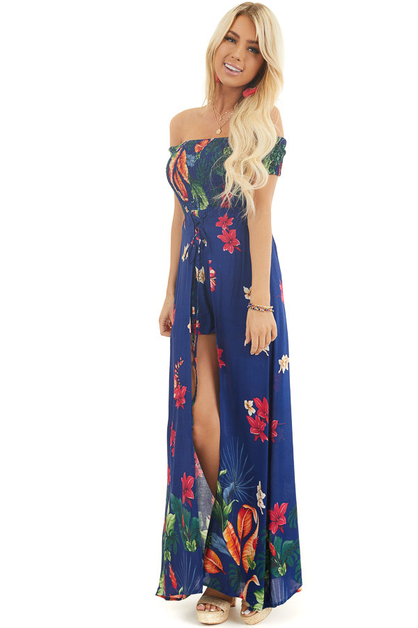 Midnight Blue Floral Off Shoulder Romper with Maxi Overlay front full body