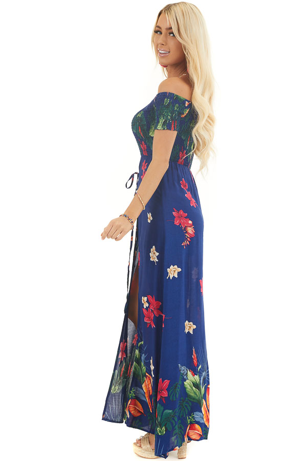 Midnight Blue Floral Off Shoulder Romper with Maxi Overlay side full body