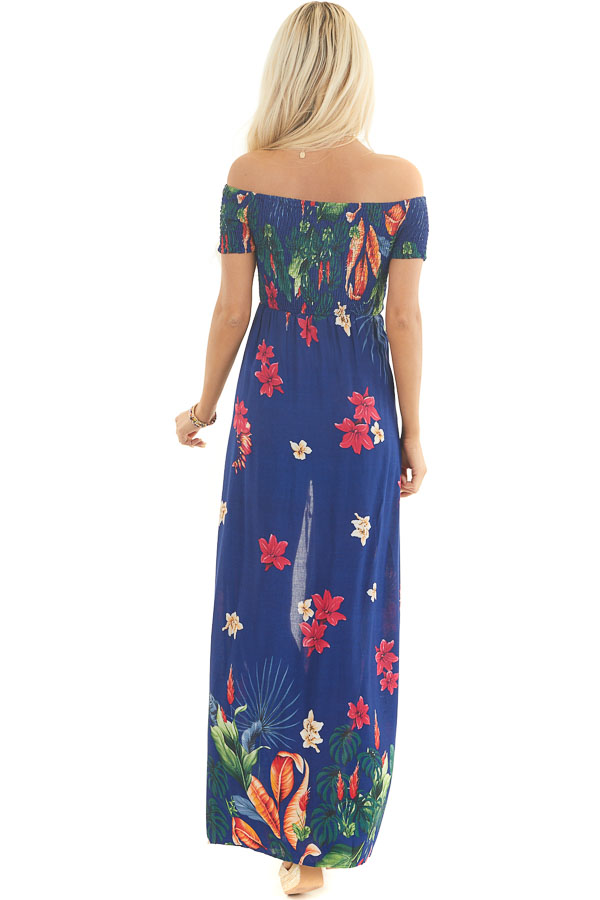 Midnight Blue Floral Off Shoulder Romper with Maxi Overlay back full body
