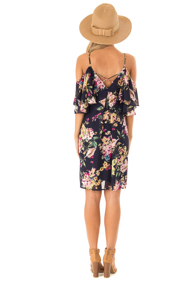Navy Floral Off the Shoulder Mini Dress with Ruffle Detail back full body