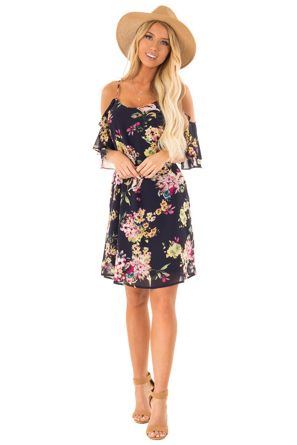 Navy Floral Off the Shoulder Mini Dress with Ruffle Detail front full body