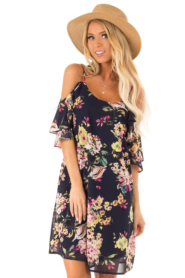 Navy Floral Off the Shoulder Mini Dress with Ruffle Detail front close up