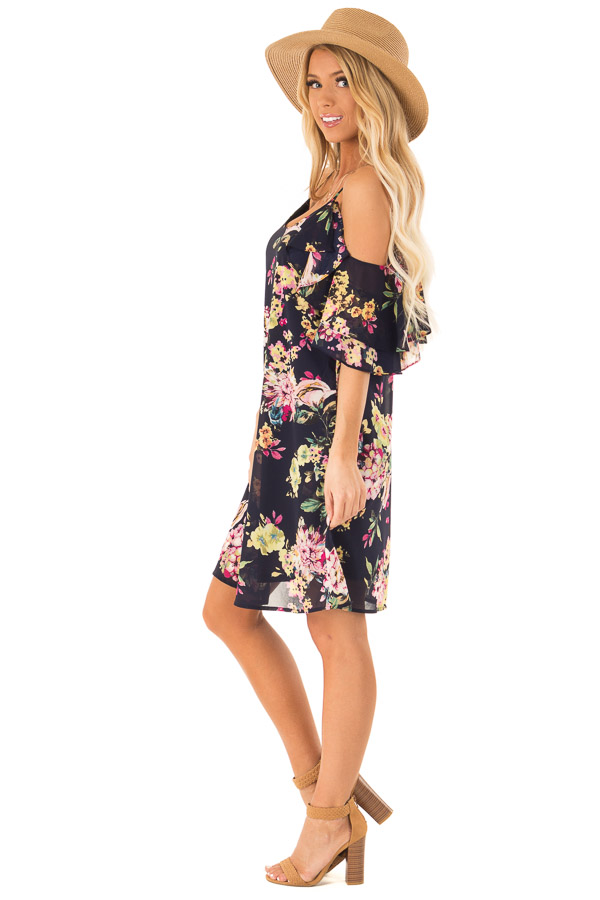 Navy Floral Off the Shoulder Mini Dress with Ruffle Detail side full body