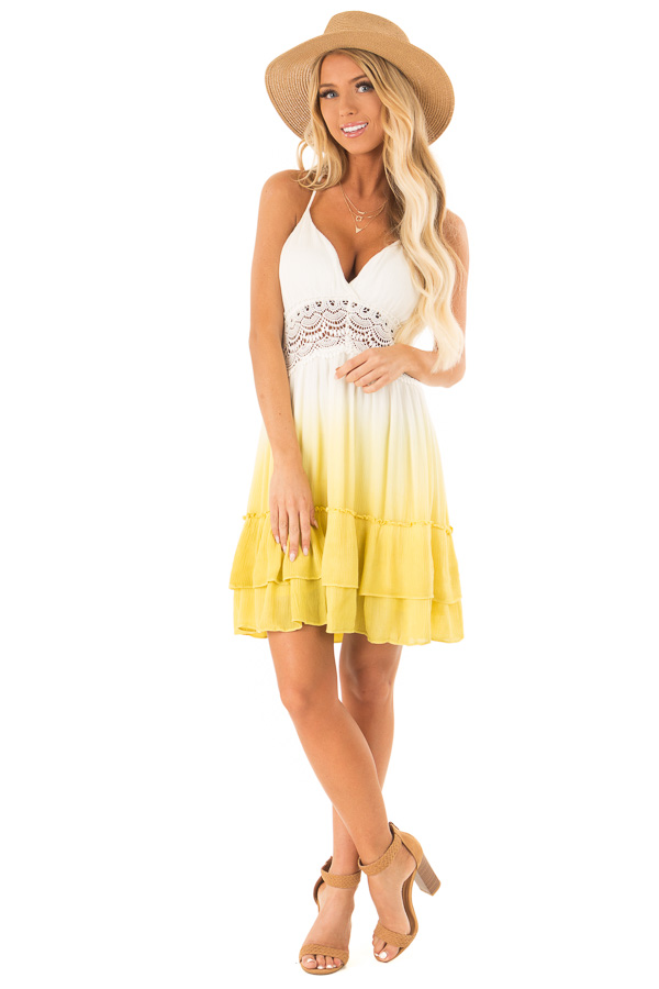5a31929fb370 Mustard and Off White Ombre Open Back Mini Dress - Lime Lush Boutique