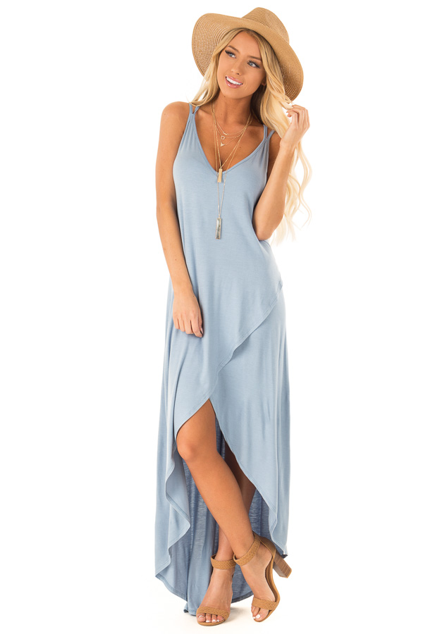 Dusty Blue V Neck High Low Dress with Criss Cross Strap Back front full body