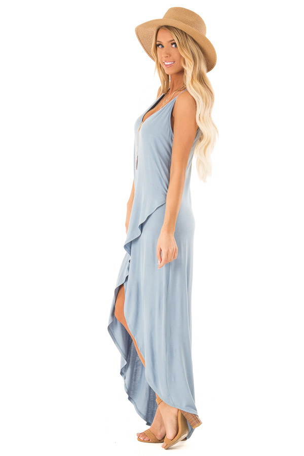 Dusty Blue V Neck High Low Dress with Criss Cross Strap Back side full body