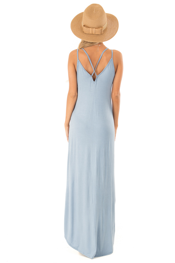 Dusty Blue V Neck High Low Dress with Criss Cross Strap Back back full body