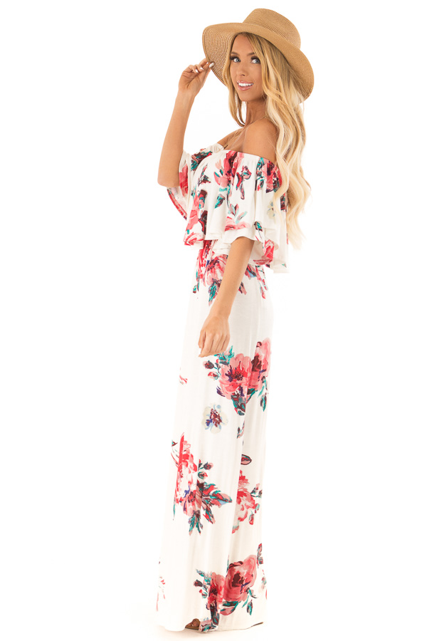 Ivory Floral Print Off the Shoulder Maxi Dress with Overlay side full body