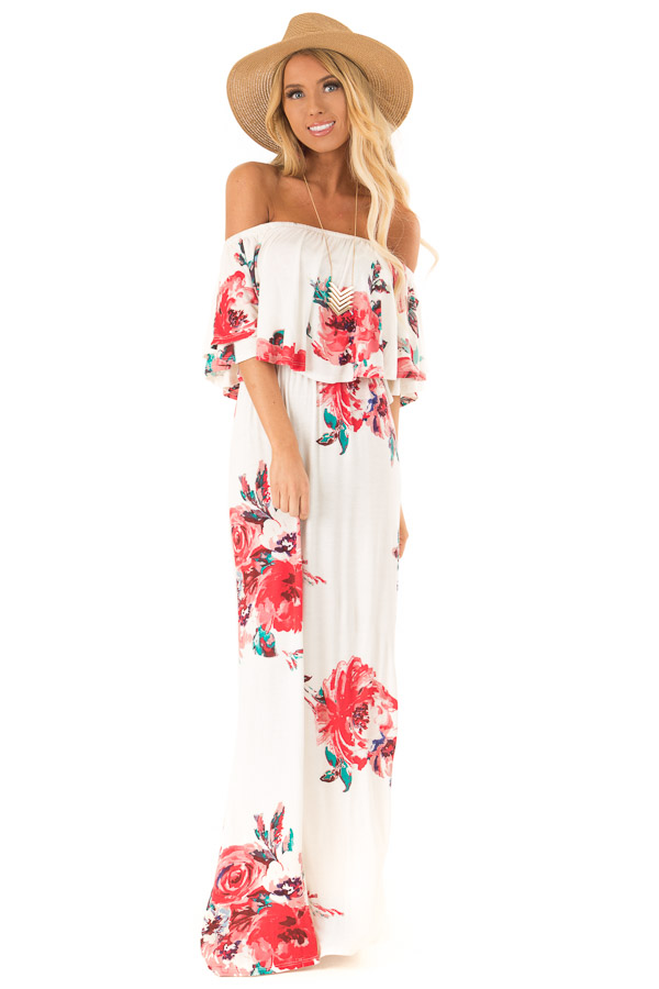 Ivory Floral Print Off the Shoulder Maxi Dress with Overlay front full body