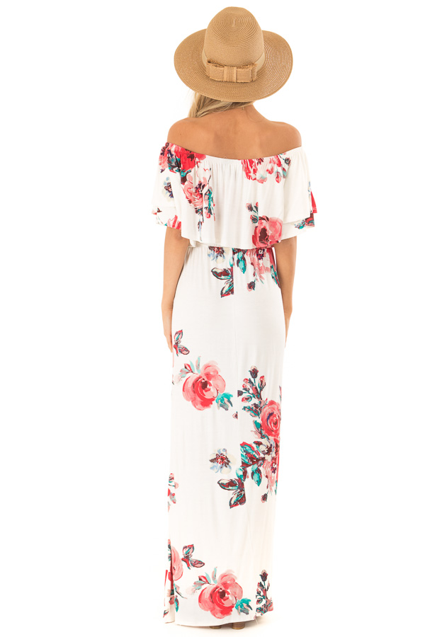 Ivory Floral Print Off the Shoulder Maxi Dress with Overlay back full body