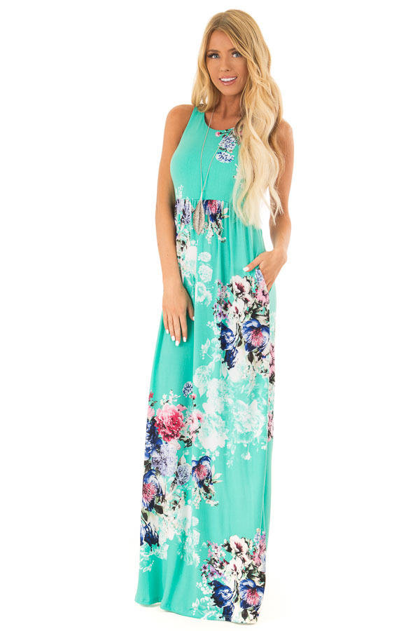 Spearmint Floral Racerback Maxi Dress with Side Pockets front full body