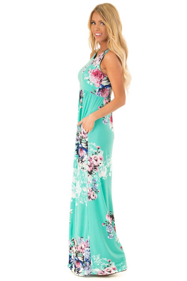 Spearmint Floral Racerback Maxi Dress with Side Pockets side full body