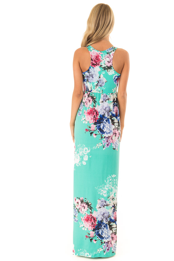 Spearmint Floral Racerback Maxi Dress with Side Pockets back full body
