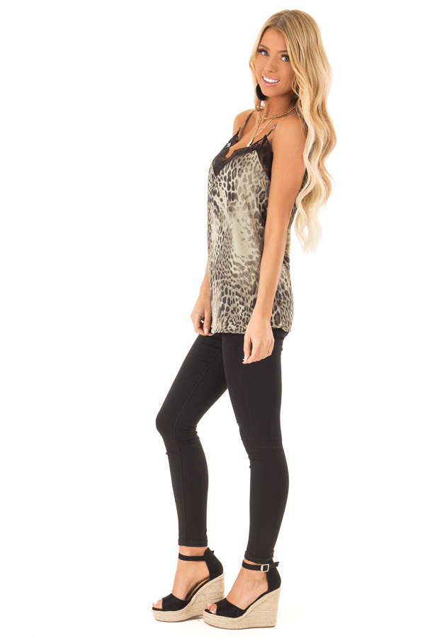 Dusty Sage Leopard Print Tank Top with Black Lace Trim side full body