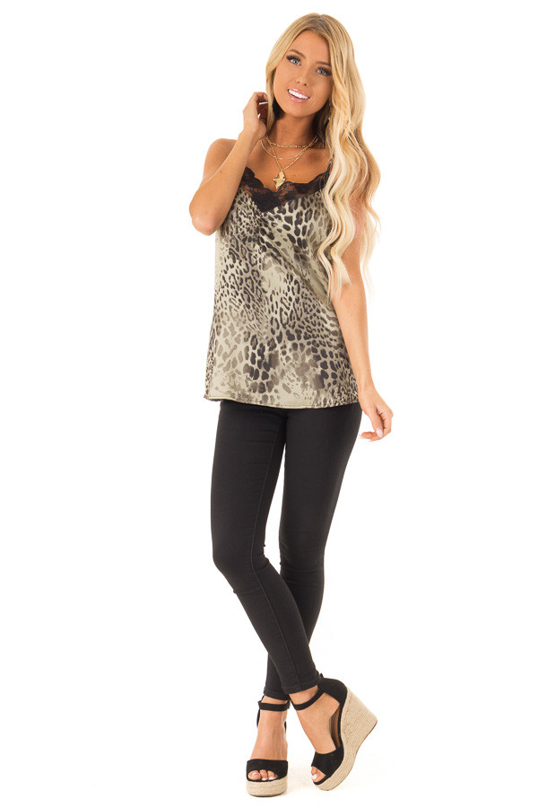 Dusty Sage Leopard Print Tank Top with Black Lace Trim front full body