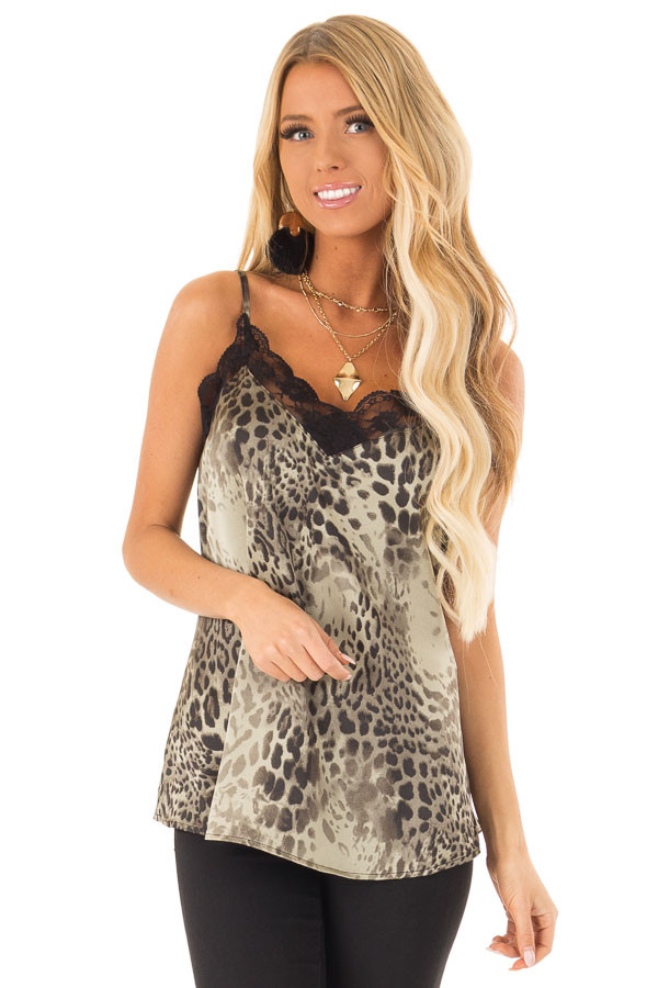 Dusty Sage Leopard Print Tank Top with Black Lace Trim front close up