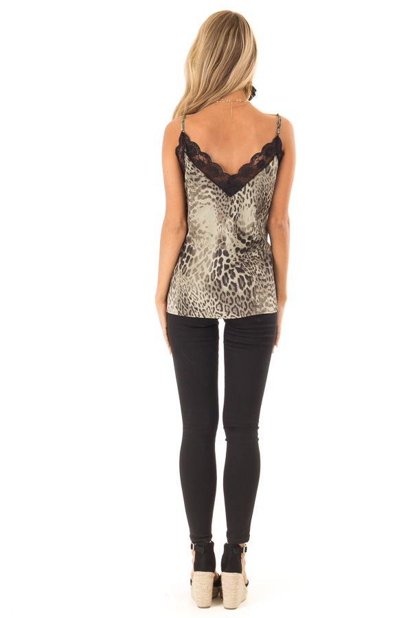 Dusty Sage Leopard Print Tank Top with Black Lace Trim back full body