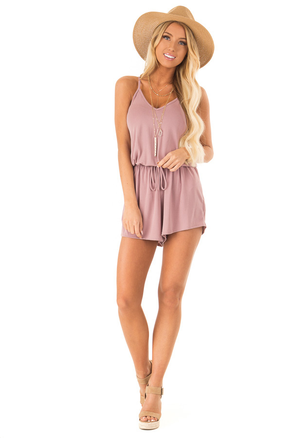 Mauve Spaghetti Strap Romper with Back Criss Cross Detail front full body