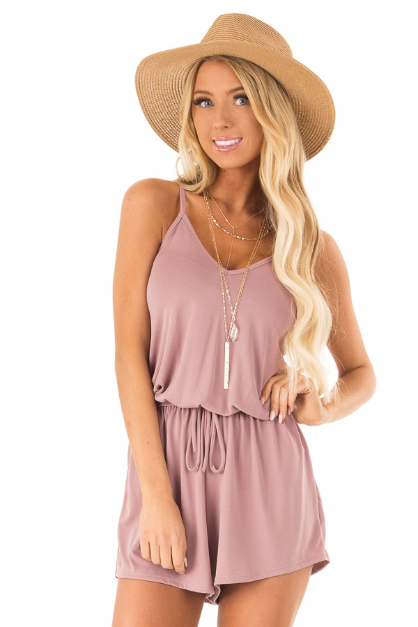 Mauve Spaghetti Strap Romper with Back Criss Cross Detail front close up