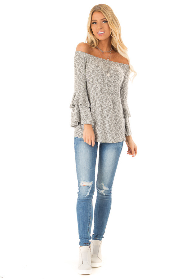 Heather Grey Ribbed Off Shoulder Top with Long Bell Sleeves front full body