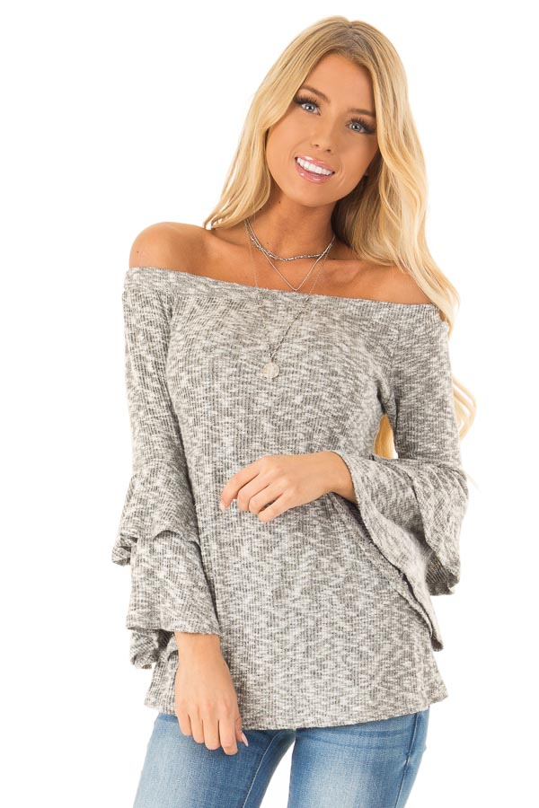 Heather Grey Ribbed Off Shoulder Top with Long Bell Sleeves front close up