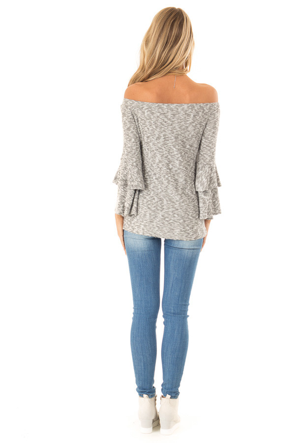 Heather Grey Ribbed Off Shoulder Top with Long Bell Sleeves back full body