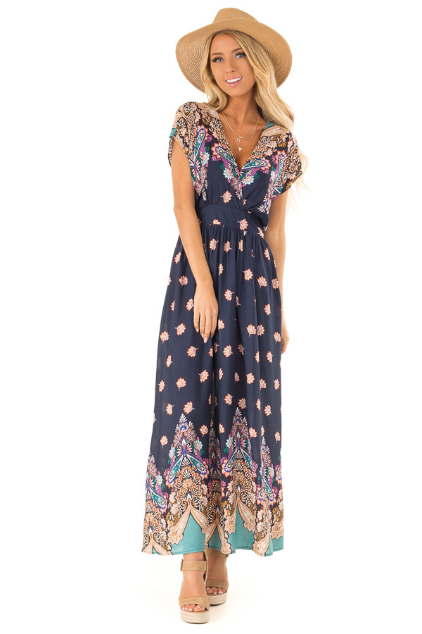 Navy Multi Print Surplice Maxi Dress with Short Sleeves front full body