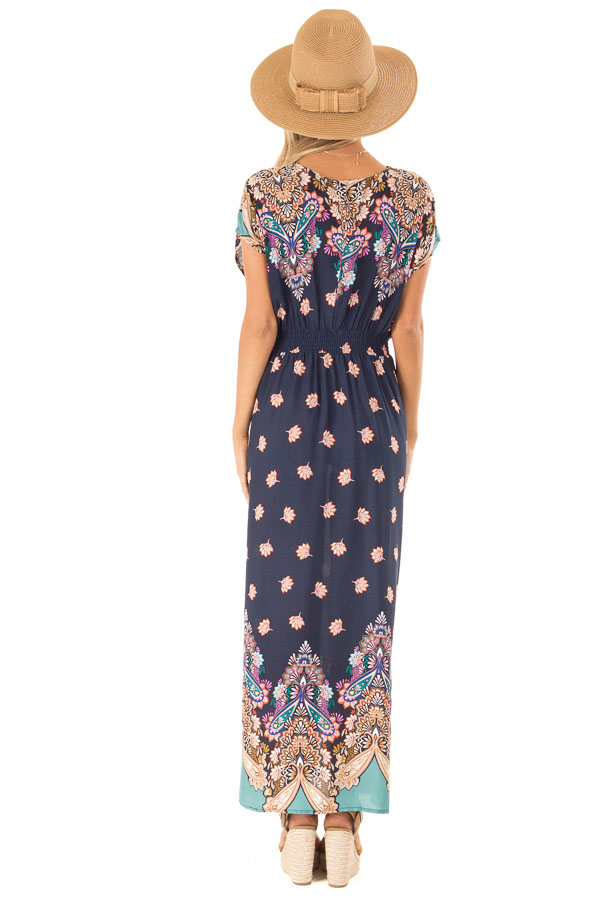 Navy Multi Print Surplice Maxi Dress with Short Sleeves back full body