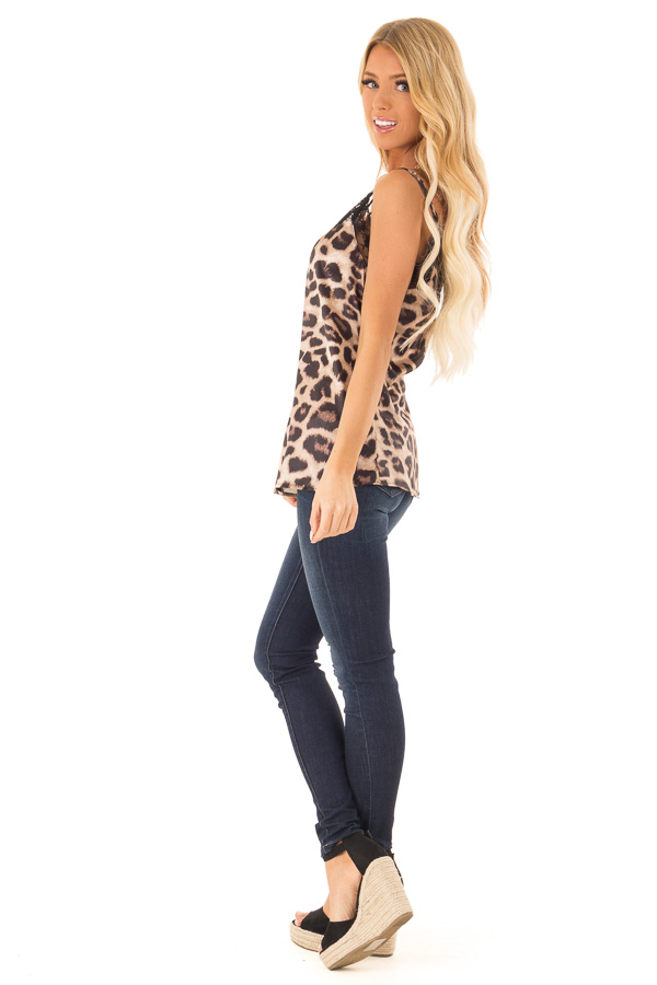 Caramel Leopard Print Tank Top with Black Lace Trim side full body