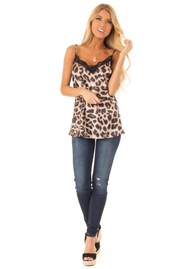 Caramel Leopard Print Tank Top with Black Lace Trim front full body