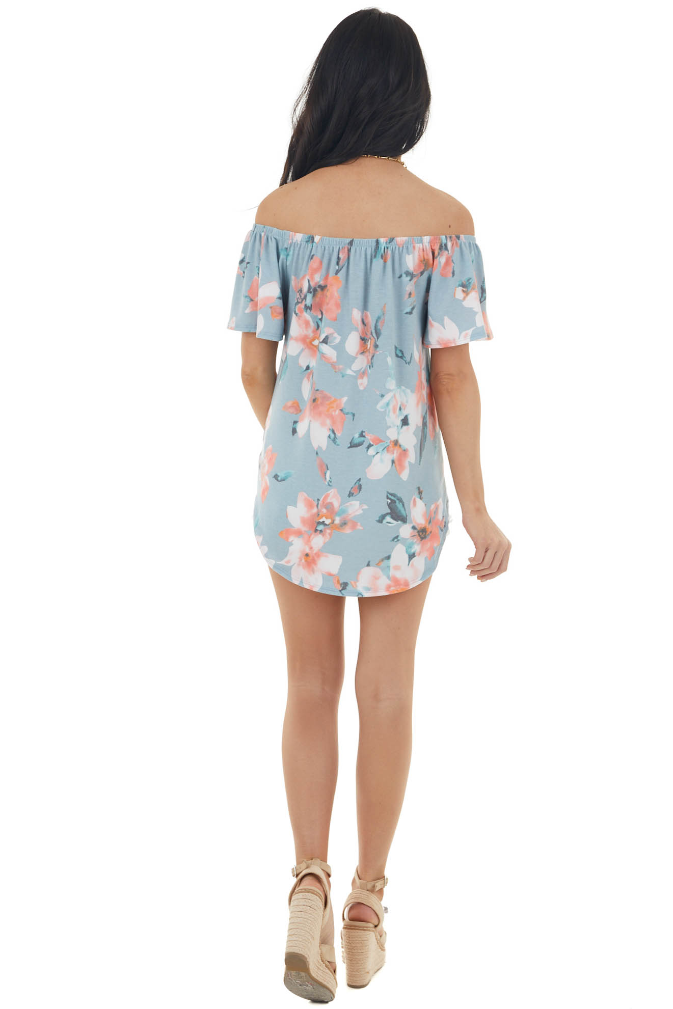 Sky Blue Floral Off the Shoulder Top with Front Tie Detail
