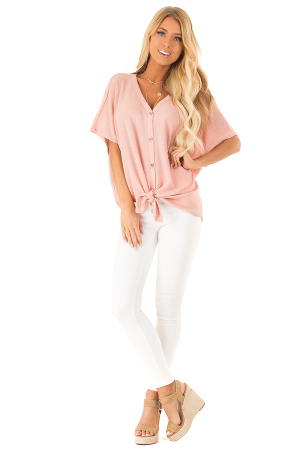 Blush Button Down Short Sleeve Top with Front Tie front full body