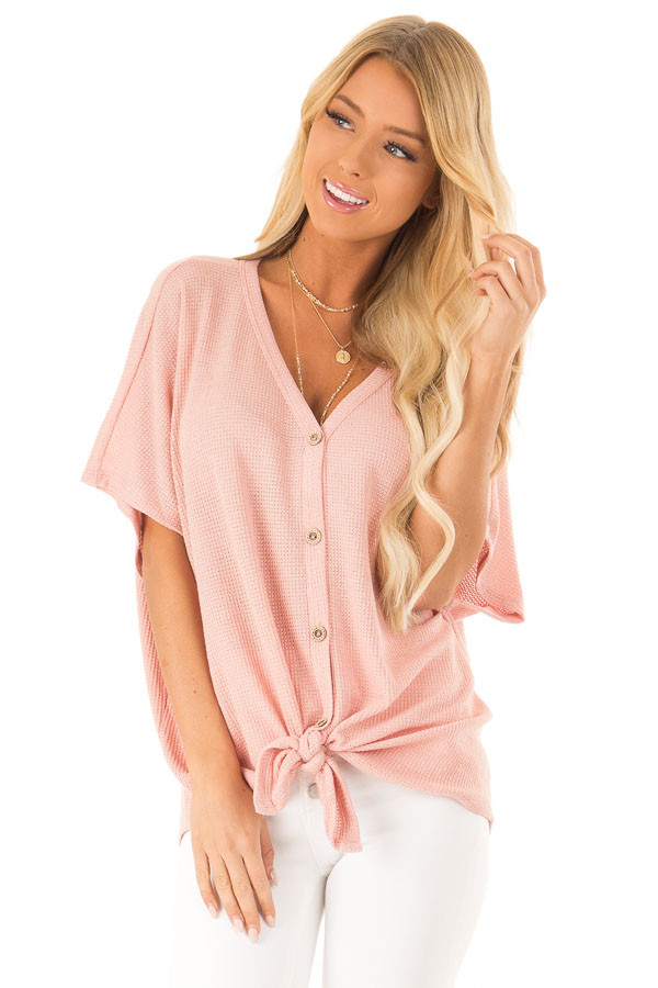 Blush Button Down Short Sleeve Top with Front Tie front close up