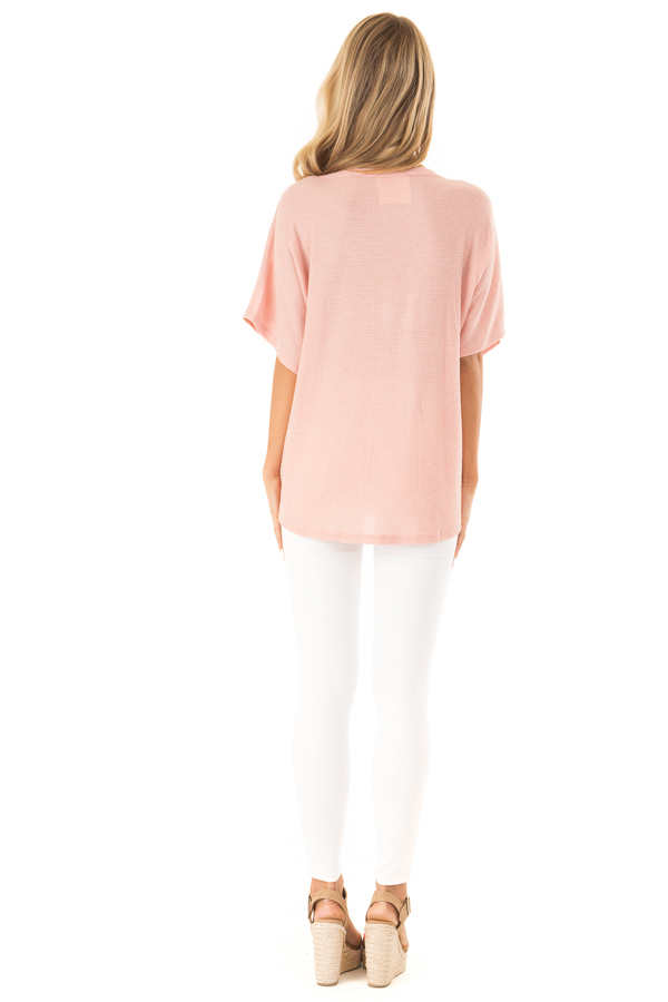 Blush Button Down Short Sleeve Top with Front Tie back full body