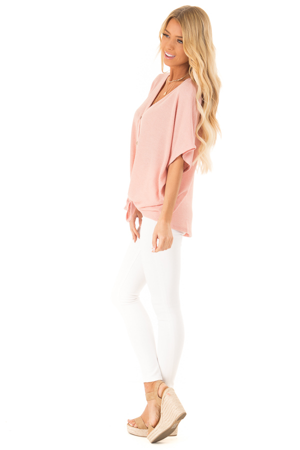 Blush Button Down Short Sleeve Top with Front Tie side full body