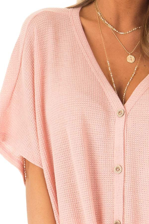 Blush Button Down Short Sleeve Top with Front Tie detail