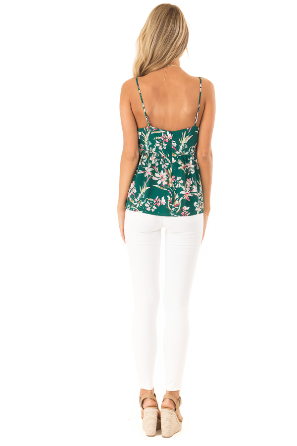 Pine Green and Floral Print Babydoll V Neck Tank Top back full body