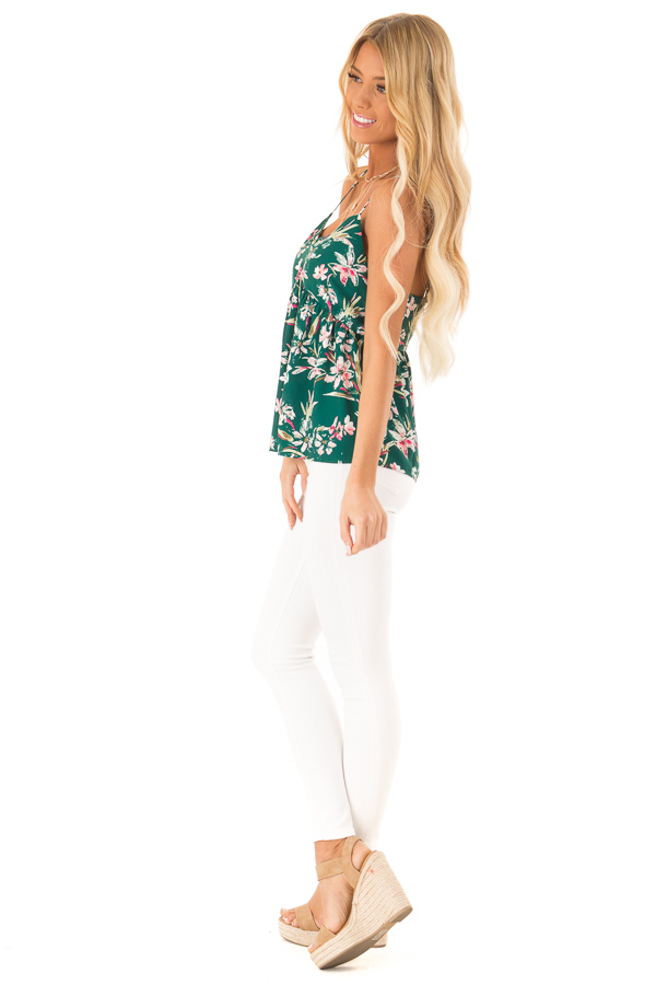 Pine Green and Floral Print Babydoll V Neck Tank Top side full body