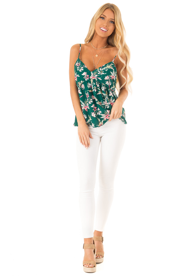 Pine Green and Floral Print Babydoll V Neck Tank Top front full body