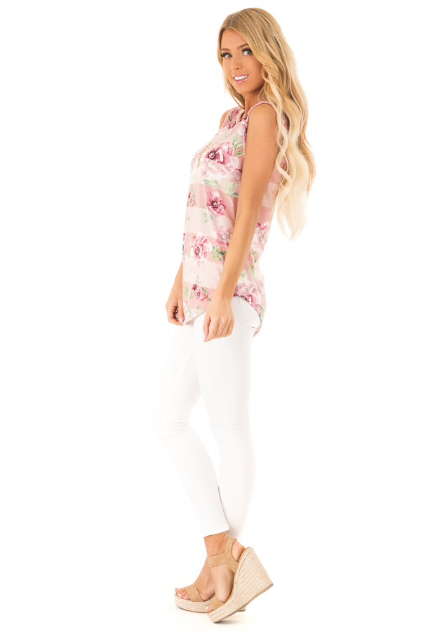 Dusty Mauve and Lime Green Floral Striped Casual Tank Top side full body