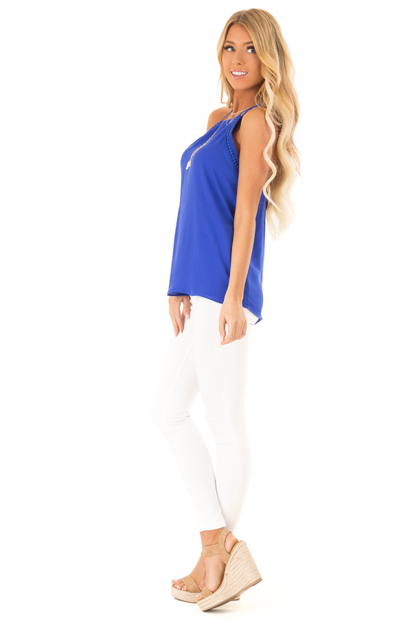 Cobalt Blue Halter Tank Top with Double Strap Detail side full body