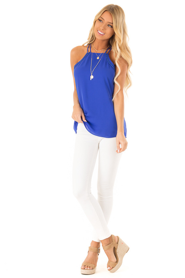 Cobalt Blue Halter Tank Top with Double Strap Detail front full body