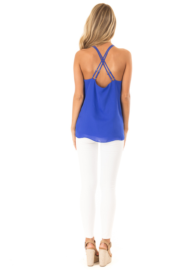 Cobalt Blue Halter Tank Top with Double Strap Detail back full body