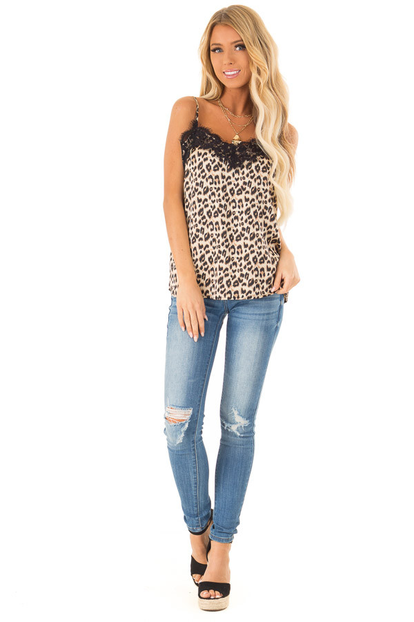 ecd4ac4fa4 Light Brown Sugar Leopard Tank Top with Eyelash Lace front full body