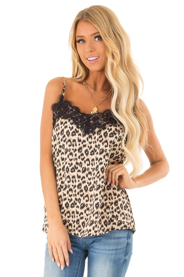 70dca94e5c Light Brown Sugar Leopard Tank Top with Eyelash Lace - Lime Lush ...