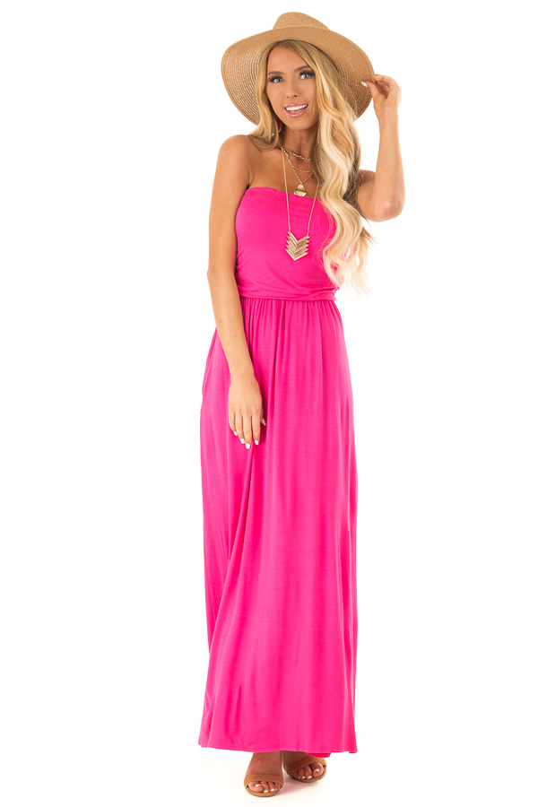Fuchsia Maxi Dress with Tube Top and Gathered Hemline front full body